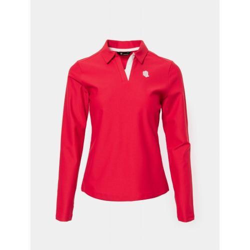 [빈폴골프] 여성 레드 배색 변형 칼라 티셔츠 (BJ0241L436)