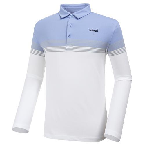 [와이드앵글] 남성 조직감 뎅깡 보더 긴팔 티셔츠 M WMP20233W2