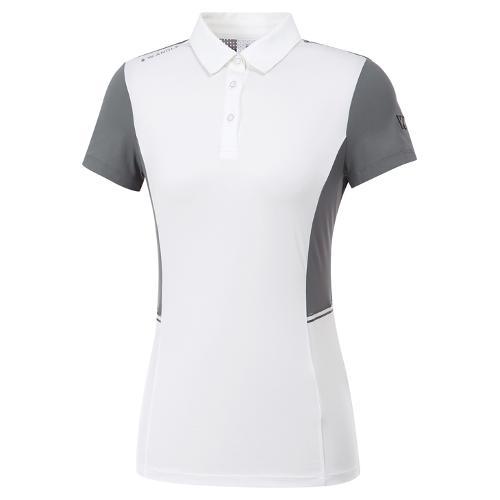 [와이드앵글] 여성 W리미리드 면분할 카라 반팔 티셔츠 L WWM20204W2