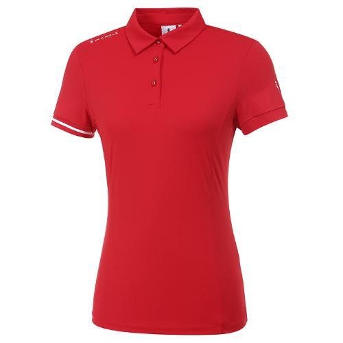 [와이드앵글] 여성 플레그 라인 소매 포인트 카라 티셔츠 L WWM20206R2