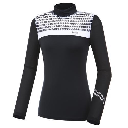 [와이드앵글] 여성 패턴 분할 긴팔 티셔츠(W.ICE) L WWM20236Z1