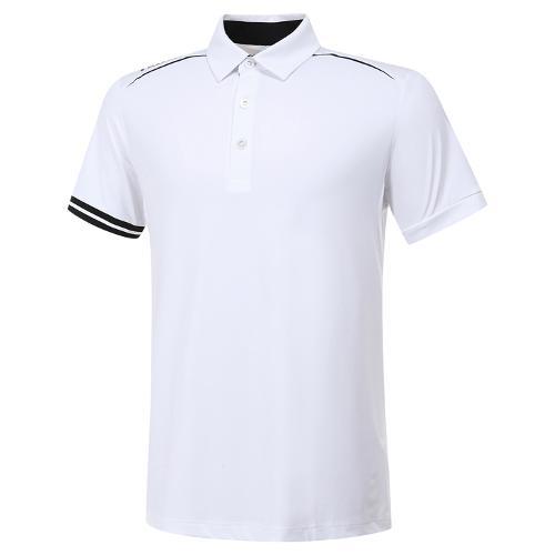 [와이드앵글] 남성 플레그 라인 소매 포인트 카라 반팔 티셔츠 M WMM20214W2