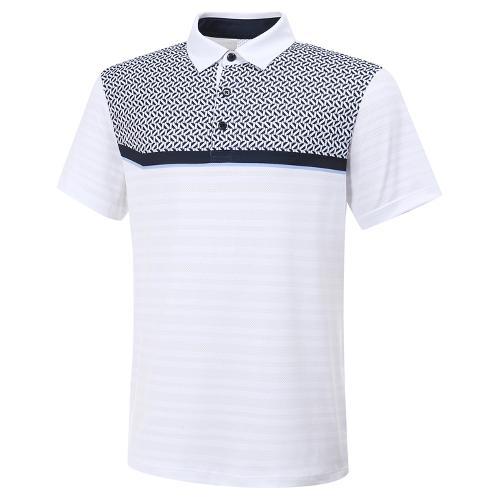 [와이드앵글] 남성 컬러 블럭 메쉬 자카드 반팔 티셔츠 M WMM20235W2