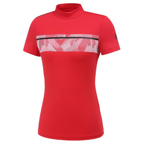 [와이드앵글] 여성 프린트 보더 하이넥 반팔 티셔츠 L WWM20210R2