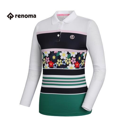 [레노마골프]여성 패턴 플라워 포인트 티셔츠 RWTPH5103-100_G