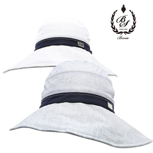 [보니스 골프] 스틸로고 쉬폰배색 리본 여성 와이드챙 모자/골프모자_250355