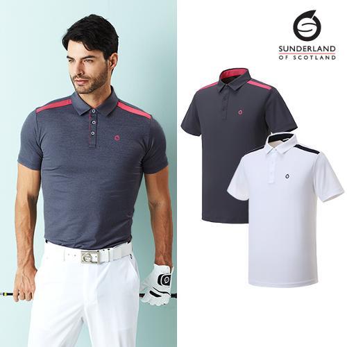 선덜랜드 남성 라인배색 반팔 티셔츠 - 16021TS03