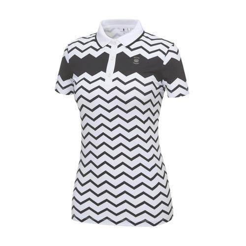 [와이드앵글] 여성 지그재그 프린트 반팔 티셔츠 WWM18293W3