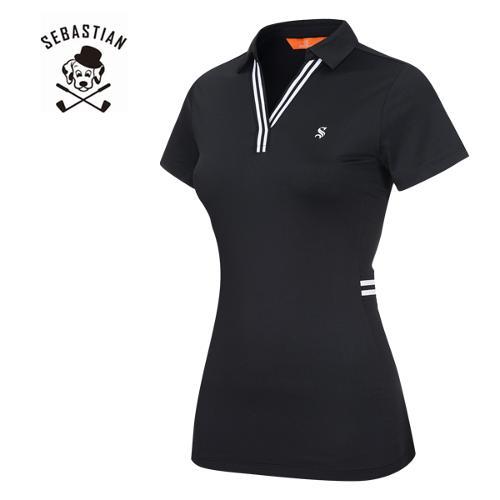 [세바스찬골프] 폴리스판 라인배색 오픈카라 여성 반팔티셔츠/골프웨어_250924