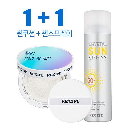 (1+1)레시피 자외선 차단 스노우 쿨링 선쿠션+선스프레이 50ml_VIG