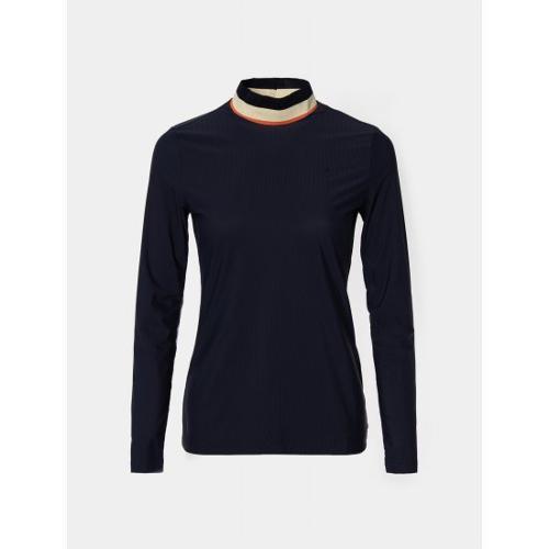 [빈폴골프] 여성 네이비 배색 하이넥 티셔츠 (BJ0741A06R)
