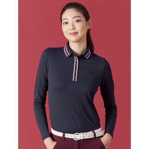 [빈폴골프] 여성 네이비 배색 라인 니트 칼라 티셔츠 (BJ0841A07R)