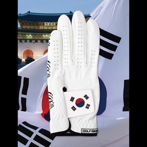 [골프스킨 골프장갑] 태극기 - 최상의그립감 미끄럼방지 세탁가능 특수원단 스마트폰터치 (왼손)