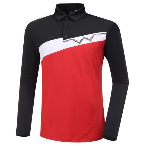[와이드앵글] 남성 WL 블럭형 카라 긴팔 티셔츠 M WMU20211R2
