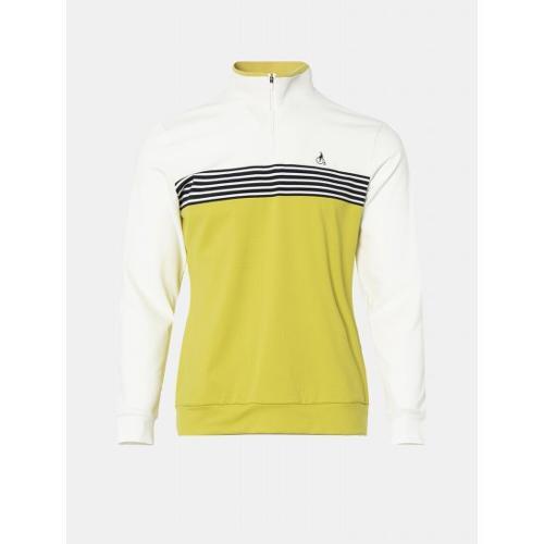 [빈폴골프] 남성 머스터드 블록 라인 반집업 티셔츠 (BJ0841B10G)