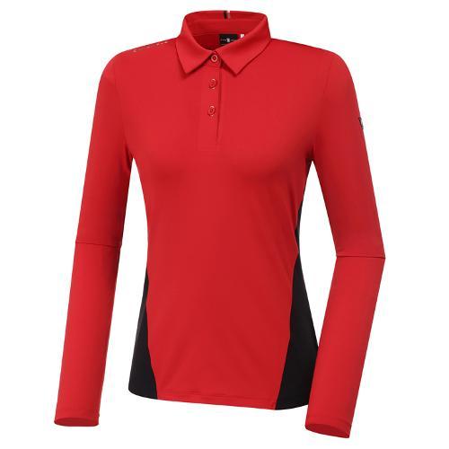 [와이드앵글] 여성 WL W.ANGEL 면블럭 카라 긴팔 티셔츠 2 L WWU20205R2