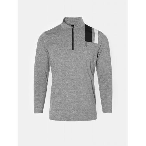 [빈폴골프] [NDL라인] 남성 라이트 그레이 배색 블록 반집업 티셔츠 (BJ0841M462)