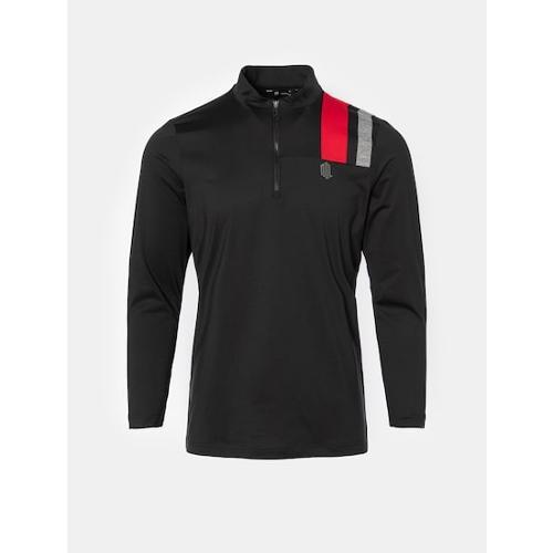 [빈폴골프] [NDL라인] 남성 블랙 배색 블록 반집업 티셔츠 (BJ0841M465)