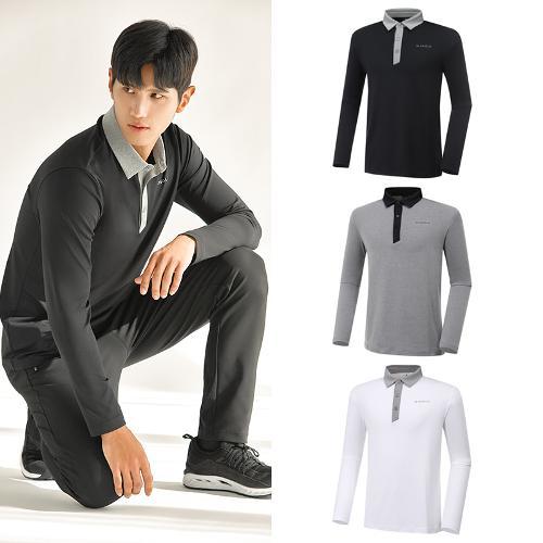 [와이드앵글] 남성 ONEX 변형 카라 긴팔 티셔츠 WMU20292 3종택