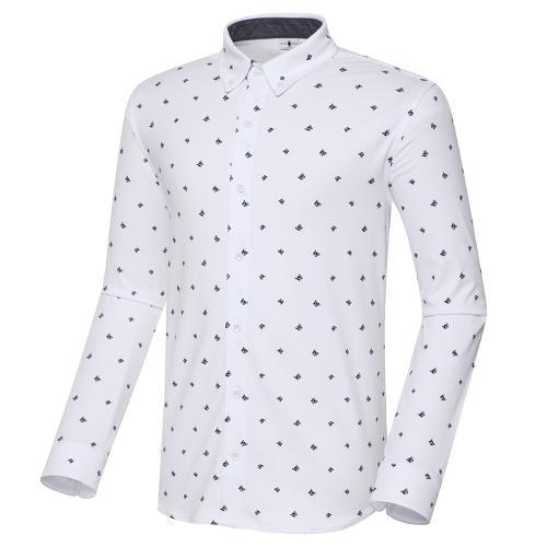 [와이드앵글] 남성 져지 W 패턴 긴팔 셔츠 M WMU20441W3