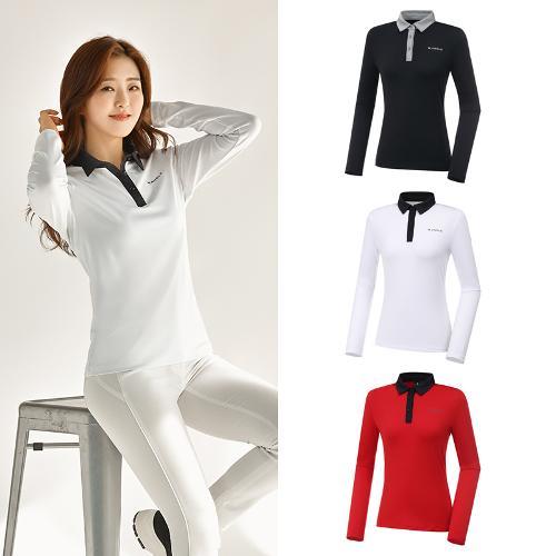 [와이드앵글] 여성 ONEX 변형 카라 긴팔 티셔츠 WWU20292 3종택