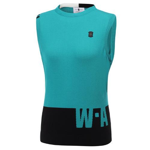 [와이드앵글] 여성 배색 라운드 스웨터 민소매 베스트 L WWU20K41G9