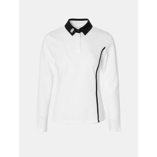 [빈폴골프] [NDL라인] 여성 화이트 텍스처 배색 칼라 티셔츠 (BJ0841L451)