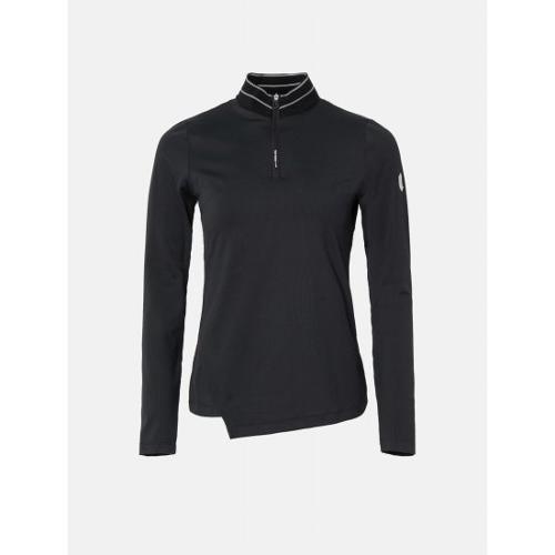 [빈폴골프] [NDL라인] 여성 블랙 골지 하이넥 반집업 티셔츠 (BJ0841L485)