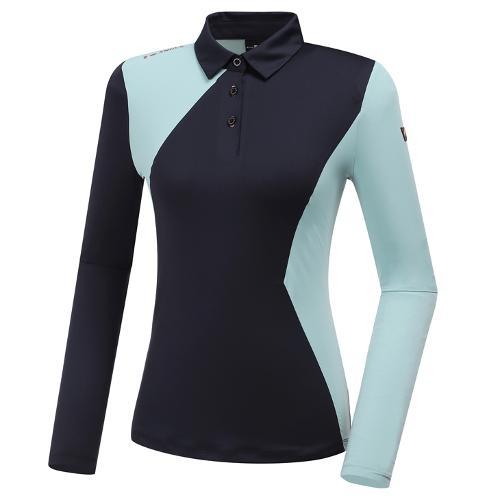 [와이드앵글] 여성 WL W.ANGEL 면블럭 카라 긴팔 티셔츠 1 L WWU20204N4