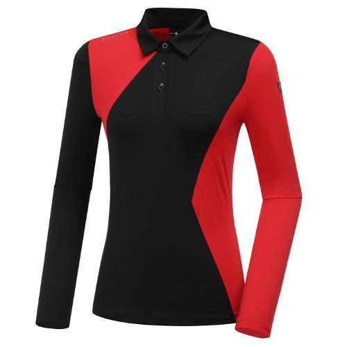 [와이드앵글] 여성 WL W.ANGEL 면블럭 카라 긴팔 티셔츠 1 L WWU20204Z1