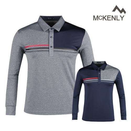 맥켄리 배색 고기능 긴팔 골프셔츠 RM20A441