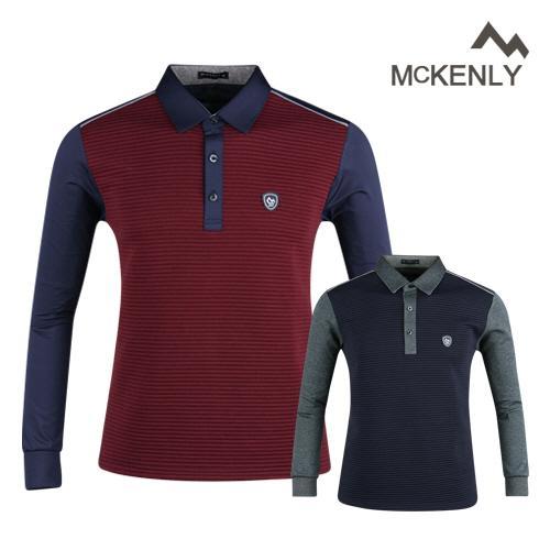 맥켄리 배색 고기능 긴팔 골프 셔츠 RM20A439