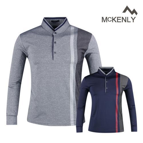 맥켄리 배색 고기능 긴팔 골프 셔츠 RM20A438