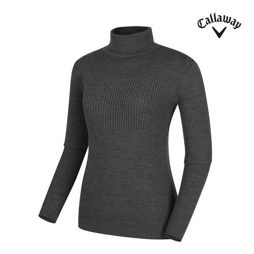 [캘러웨이] 여성 배색 포인트 골지 터틀넥 긴팔 스웨터 CWSHG7271-193_G