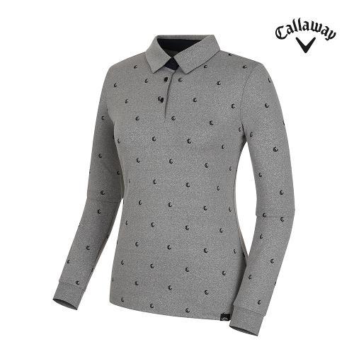 [캘러웨이] 여성 로고 패턴 카라 긴팔 티셔츠 CWTYG7172-193_G