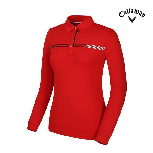 [캘러웨이] 여성 어깨 띠배색 카라 긴팔 티셔츠 CWTYG7151-500_G