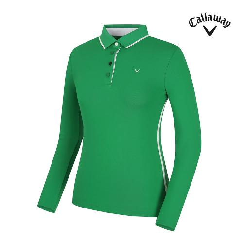 [캘러웨이] 여성 배색 포인트 카라 긴팔 티셔츠 CWTPG7101-804_G