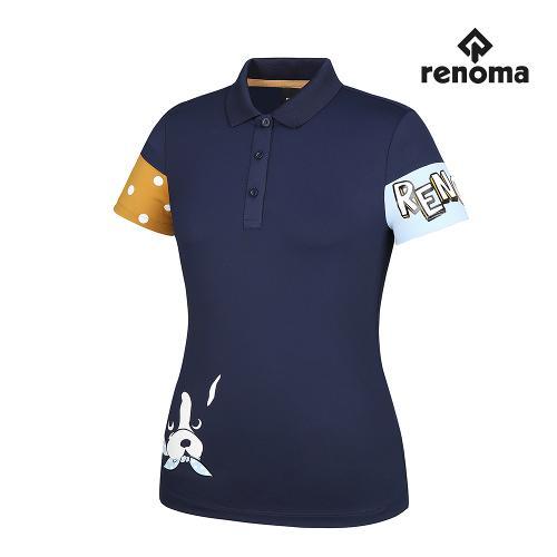 [레노마골프]여성 프린팅 배색 카라 반팔 티셔츠 RWTPG7106-915_G