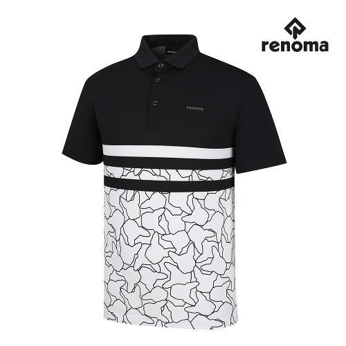 [레노마골프]남성 기능성 패턴 배색 카라 반팔 티셔츠 RMTPH3101-199_G
