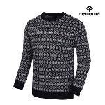 [레노마골프]남성 나뭇잎 패턴 라운드 긴팔 스웨터 RMSRH3203-915_G