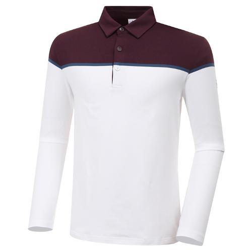 [와이드앵글] 남성 베이직 긴팔 보더 긴팔 티셔츠 M WMU20291R8