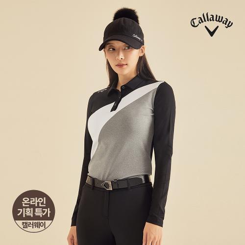 [캘러웨이]기획 여성 기모 사선 컬러 블럭 카라 긴팔 티셔츠 CWTYJ7653-199_G