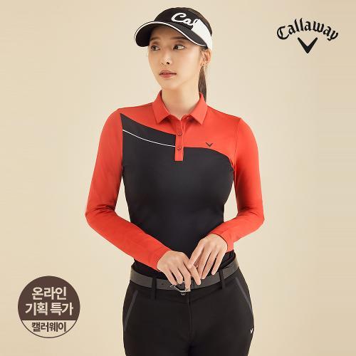 [캘러웨이]기획 여성 기모 배색 카라 긴팔 티셔츠 CWTYJ7652-500_G