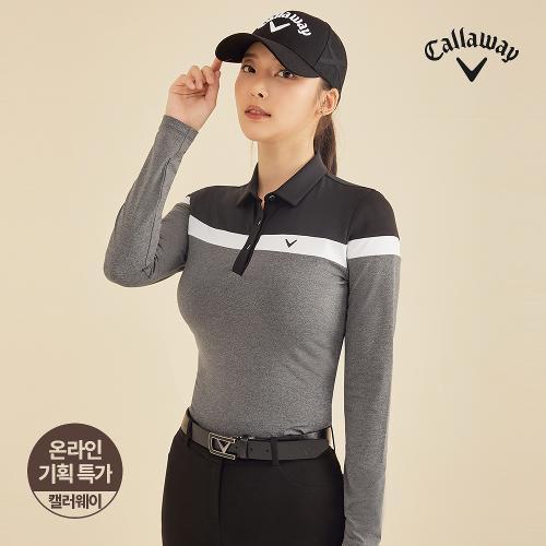 [캘러웨이]기획 여성 컬러 블록 카라 긴팔 티셔츠 CWTYJ7751-193_G