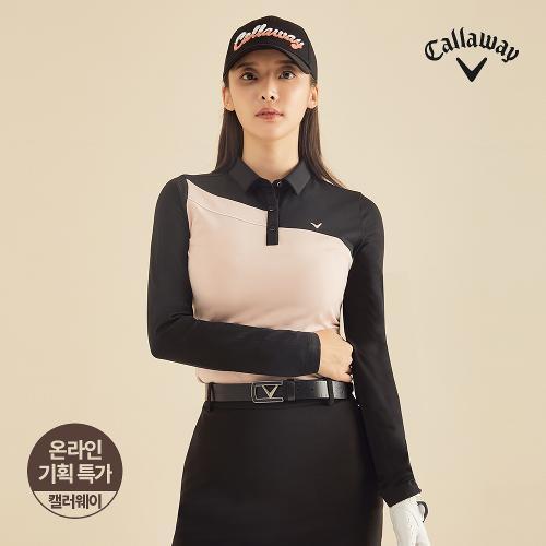 [캘러웨이]기획 여성 기모 배색 카라 긴팔 티셔츠 CWTYJ7652-304_G