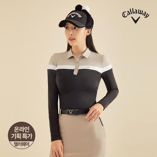 [캘러웨이]기획 여성 컬러 블록 카라 긴팔 티셔츠 CWTYJ7751-199_G