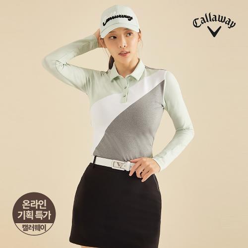 [캘러웨이]기획 여성 기모 사선 컬러 블럭 카라 긴팔 티셔츠 CWTYJ7653-830_G