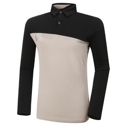 [와이드앵글] 남성 WL 블럭형 백기모 카라 긴팔 티셔츠 M WMW20203Z1