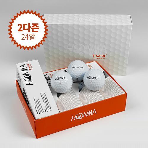 (2다즌 24알)혼마 정품 TW-X 우레탄 커버 고반발 3피스 골프공