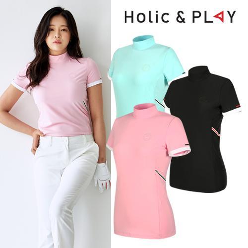 홀릭앤플레이 여성 컬러 폴라 반팔티셔츠 (HA2WTS011)